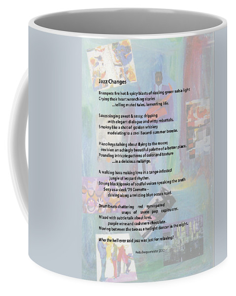 Jazz Coffee Mug featuring the painting Jazz Changes - Poem by Anita Burgermeister