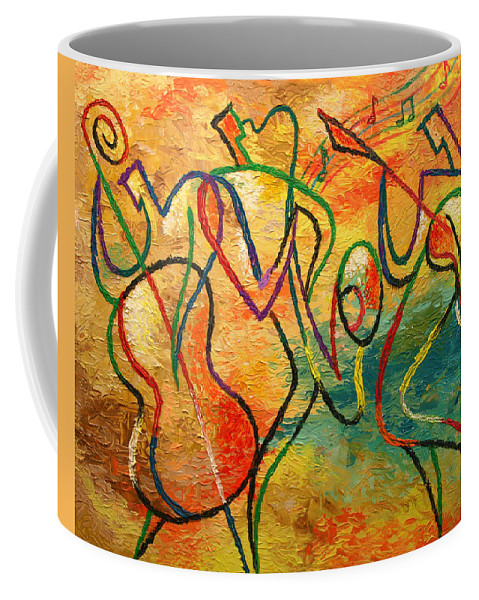 Painting Coffee Mug featuring the painting Jazz-funk by Leon Zernitsky