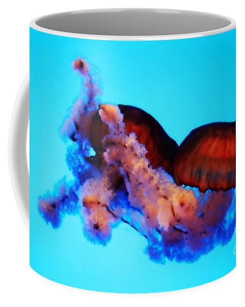 Jellyfish Coffee Mug featuring the photograph Jellyfish Drama - Digital Art by Carol Groenen