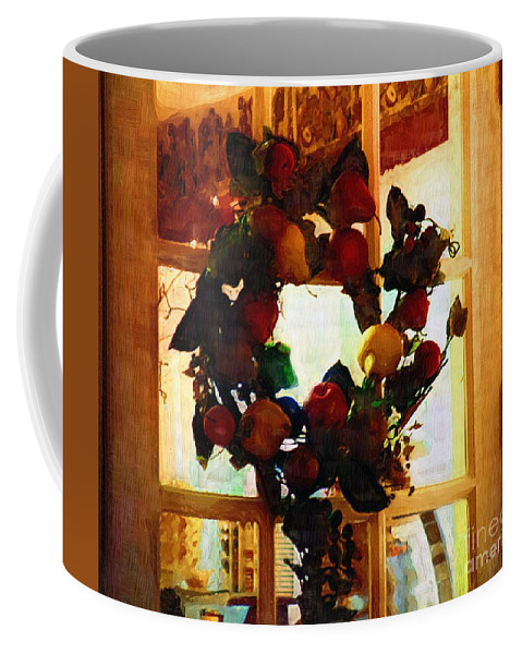 Wreath Coffee Mug featuring the painting Just A Little Green by RC DeWinter