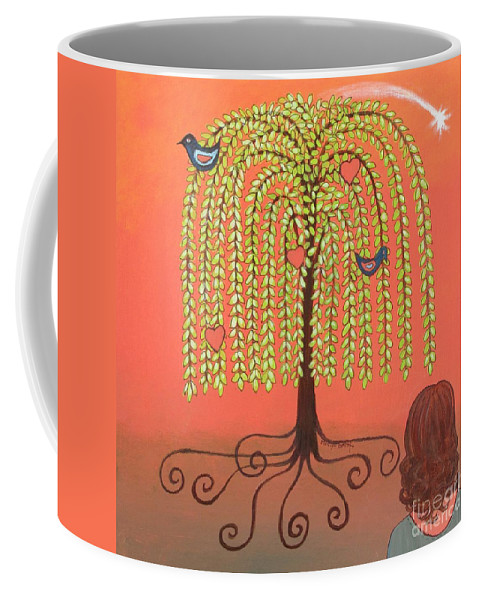 Weeping Willow Tree Coffee Mug featuring the painting Katlyn's Wish by Marilyn Smith