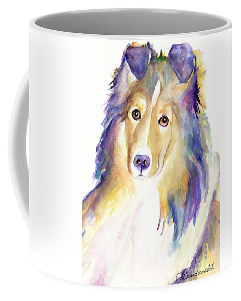 Sheltie Coffee Mug featuring the painting Kelly by Pat Saunders-White