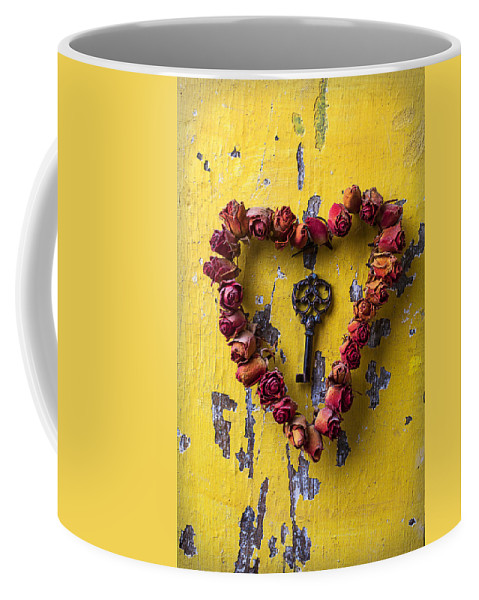 Love Rose Heart Wreath Key Coffee Mug featuring the photograph Key To My Heart by Garry Gay