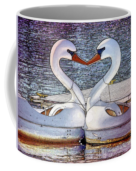 Swan Boats River Kissing Coffee Mug featuring the photograph Kissing Swans by Alice Gipson