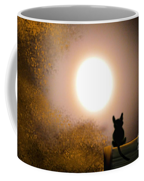 Kitty And The Moon Coffee Mug featuring the digital art Kitty And The Moon by Maria Urso