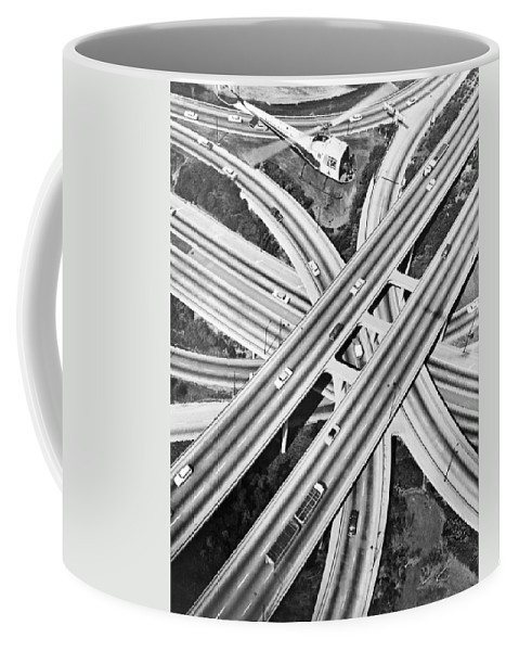 1960's Coffee Mug featuring the photograph La Freeway Interchange by Underwood Archives