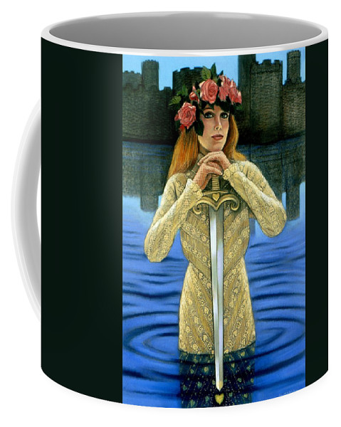 Fantasy Coffee Mug featuring the painting Lady Of The Lake by Sue Halstenberg