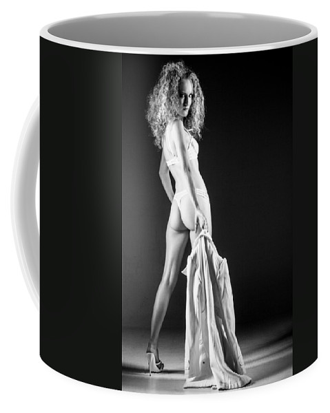 Ralf Coffee Mug featuring the photograph Lady With A Coat Bw by Ralf Kaiser
