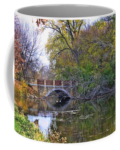 Lake Wingra Coffee Mug featuring the photograph Lake Wingra Bridge by Tommy Anderson