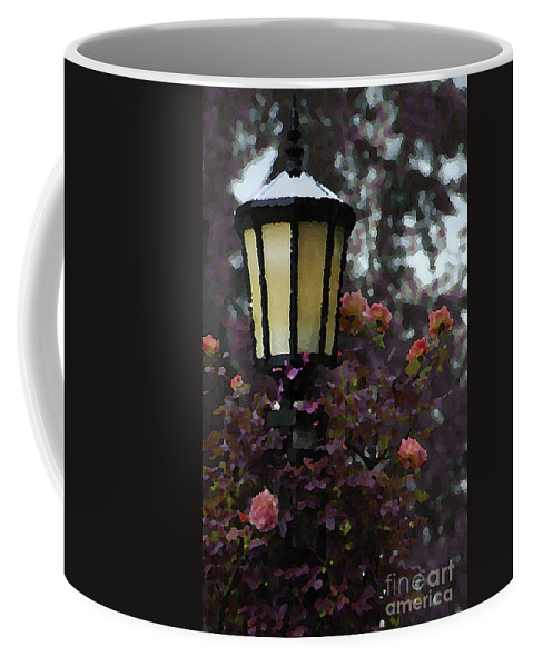 Photo Coffee Mug featuring the photograph Lamp And Roses by Mike Nellums