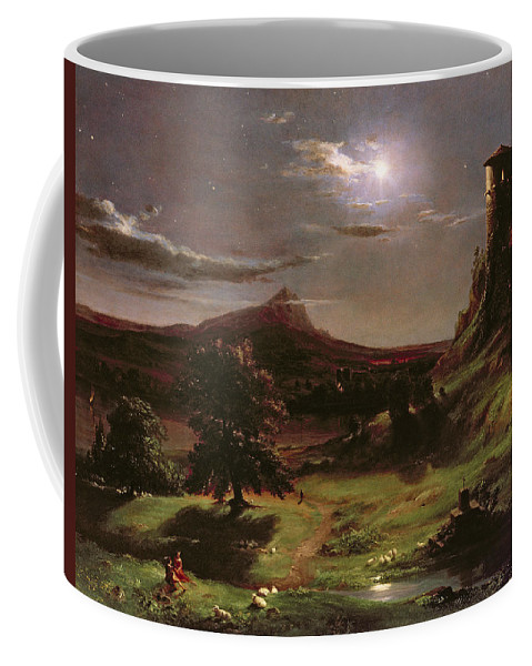 Ruin; Ruins; Round Tower; Night; Evening; Dark; Valley; Sheep; River; Medieval; Wooing; Lovers; Serenading; Serenade; Hudson River School; Romantic; Rustic; Nocturne; River; Moon; Burial Site; Memorial; Cross; Coffee Mug featuring the painting Landscape - Moonlight by Thomas Cole