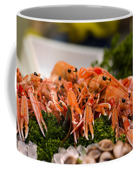 Norway Lobster Coffee Mug featuring the photograph Langoustines At The Market by Heather Applegate
