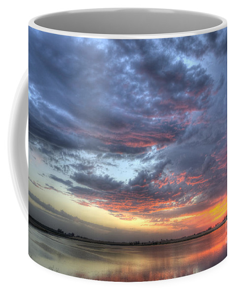 Sunset Coffee Mug featuring the photograph Last Light Over The Lake by Jim And Emily Bush