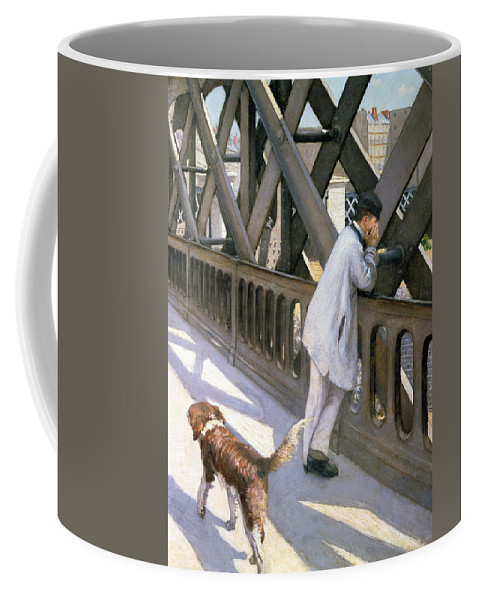 Impressionist; Bridge; Contemplation; Stray; Iron; Collie; Europe; Chien Coffee Mug featuring the painting Le Pont De L'europe by Gustave Caillebotte