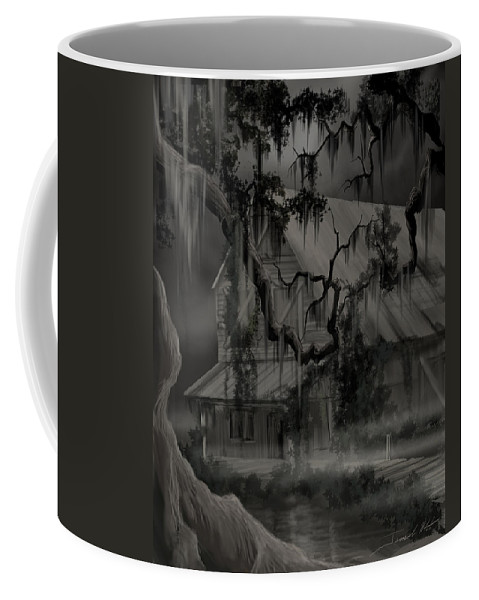 Old Woman Coffee Mug featuring the painting Legend of the Old House in the Swamp by James Christopher Hill