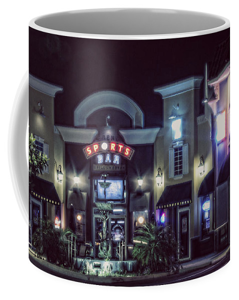 Night Coffee Mug featuring the photograph Legends Sport Bar by Janie Johnson
