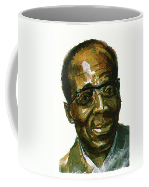 Portraits Coffee Mug featuring the painting Leopold Sedar Senghor by Emmanuel Baliyanga