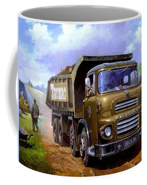 Leyland Coffee Mug featuring the painting Leyland Octopus Tarmac by Mike Jeffries