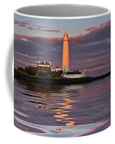 St Marys Coffee Mug featuring the photograph Lighthouse Reflection by David Pringle