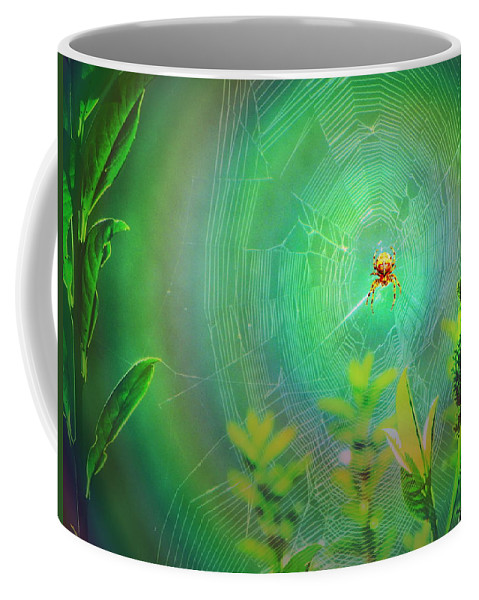 Spider Coffee Mug featuring the digital art Lightning Spider by Helmut Rottler