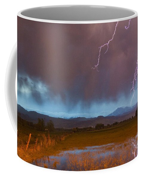 Decorative Coffee Mug featuring the photograph Lightning Striking Longs Peak Foothills 5 by James BO Insogna
