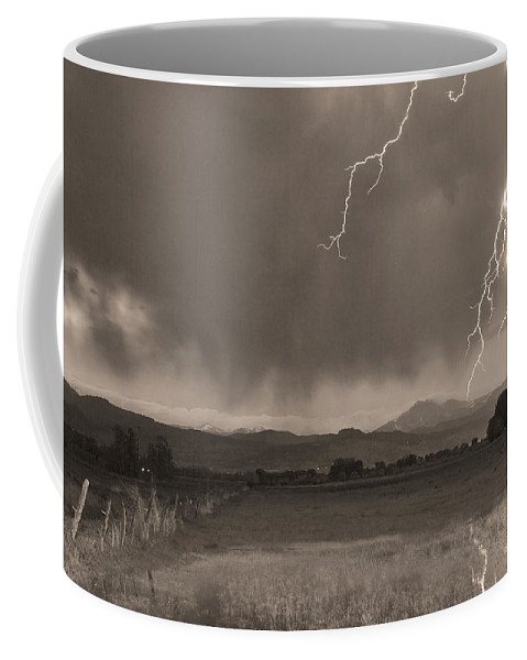 Lightning Coffee Mug featuring the photograph Lightning Striking Longs Peak Foothills 5bw Sepia by James BO Insogna