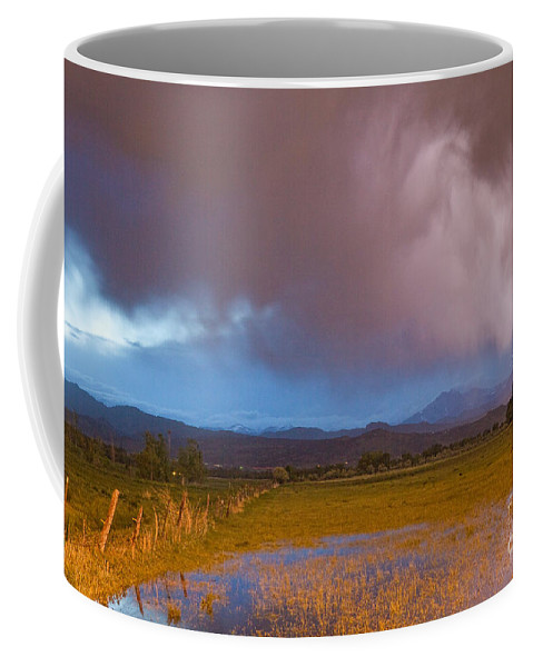 Awesome Coffee Mug featuring the photograph Lightning Striking Longs Peak Foothills 7 by James BO Insogna