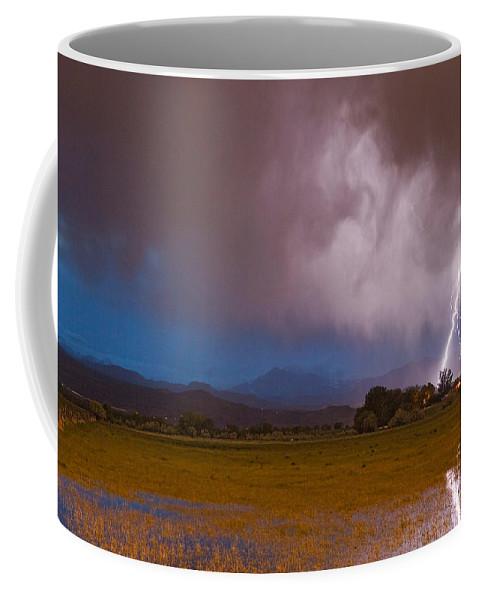 Lightning Coffee Mug featuring the photograph Lightning Striking Longs Peak Foothills 8 by James BO Insogna