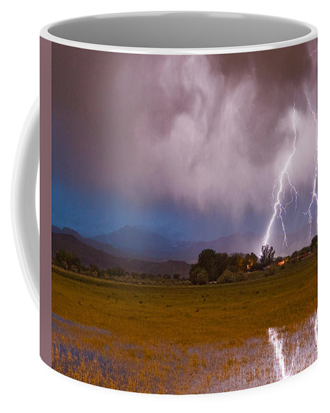 Lightning Coffee Mug featuring the photograph Lightning Striking Longs Peak Foothills 8c by James BO Insogna
