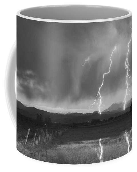 Awesome Coffee Mug featuring the photograph Lightning Striking Longs Peak Foothills Bw by James BO Insogna