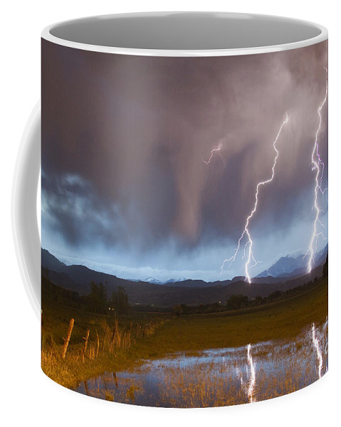 Awesome Coffee Mug featuring the photograph Lightning Striking Longs Peak Foothills by James BO Insogna