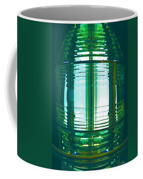 Lantern Coffee Mug featuring the photograph Lightouse Lantern At Portland Lighthouse by Nancy Griswold