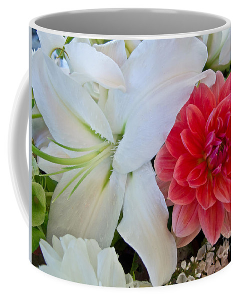 Flower Coffee Mug featuring the photograph Lilly And Friend by Arlene Carmel