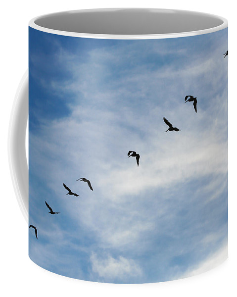 Line Coffee Mug featuring the photograph Linear Flock Of Pelicans by Marilyn Hunt