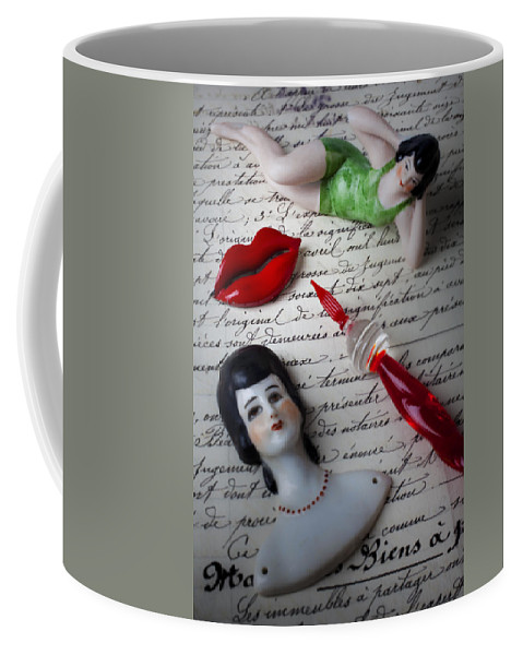 Red Lips Coffee Mug featuring the photograph Lips Pen And Old Letter by Garry Gay