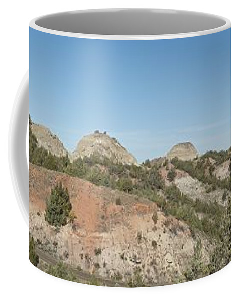 Badlands Coffee Mug featuring the photograph Little Badlands Missouri Panorama1 by Michael Peychich