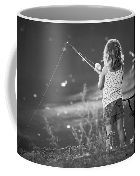2d Coffee Mug featuring the photograph Little Fishing Girl by Brian Wallace