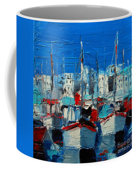 Little Harbor Coffee Mug featuring the painting Little Harbor by Mona Edulesco