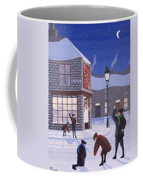 Corner Shop; Lamp Post; Moon; Snowball Fight; Shop Keeper; Hovis; Rascal; Rascals; Child; Children; Boys; Playing; Snow; Winter; Snowballing; Snowballs; Throwing; Games; Man; Angry; Cane; Street Coffee Mug featuring the painting Little Rascals by Peter Szumowski