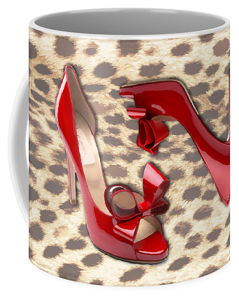 Shoes Heels Pumps Fashion Designer Feet Foot Shoe Stilettos Painting Paintings Illustration Illustrations Sketch Sketches Drawing Drawings Pump Stiletto Fetish Designer Fashion Boot Boots Footwear Sandal Sandals High+heels High+heel Women's+shoes Graphic Sophisticated Elegant Modern Coffee Mug featuring the painting Little Red Bow Peep Toes by Elaine Plesser
