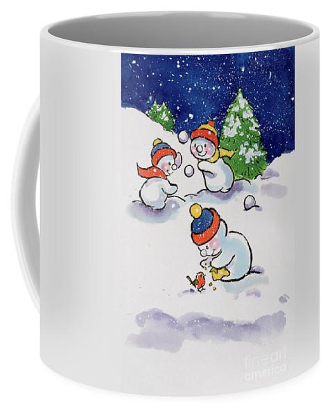 Little Snowmen Snowballing Coffee Mug featuring the painting Little Snowmen Snowballing by Diane Matthes