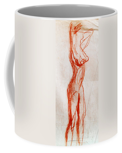 Live Model Study Coffee Mug featuring the drawing Live Model Study 1 by Mona Edulesco