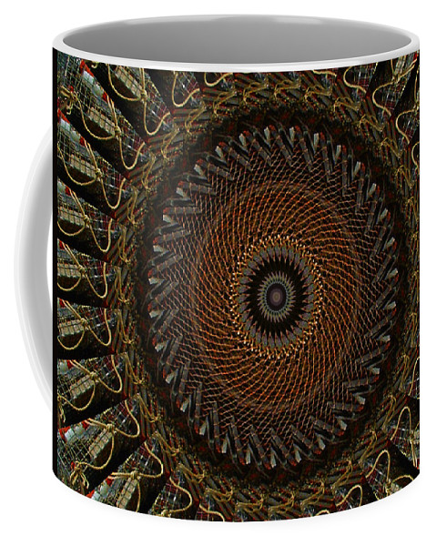 Lobster Trap Coffee Mug featuring the digital art Lobster Trap Mandala by Bill Barber
