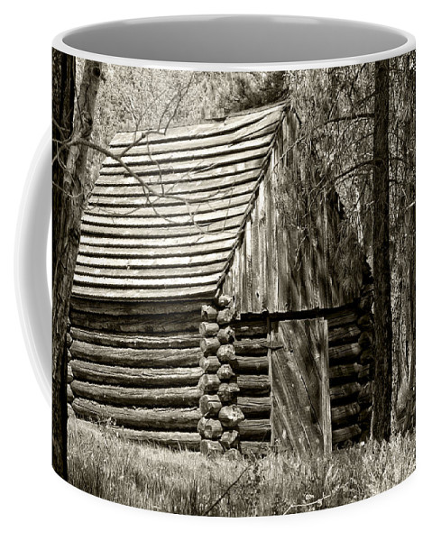 Log House Coffee Mug featuring the photograph Log Building In The Woods by Betty Depee