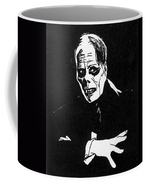 Portraits Coffee Mug featuring the drawing Lon Chaney As The Phantom by William Beyer