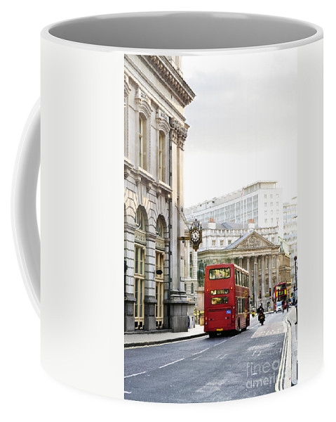 London Coffee Mug featuring the photograph London Street With View Of Royal Exchange Building by Elena Elisseeva