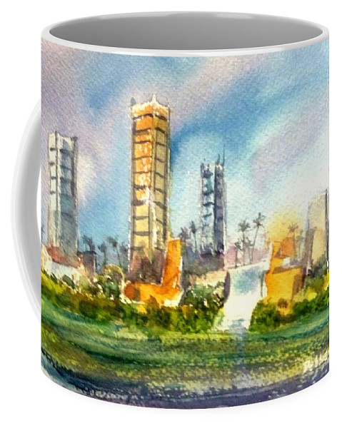 Long Beach Coffee Mug featuring the painting Long Beach Oil Islands by Debbie Lewis