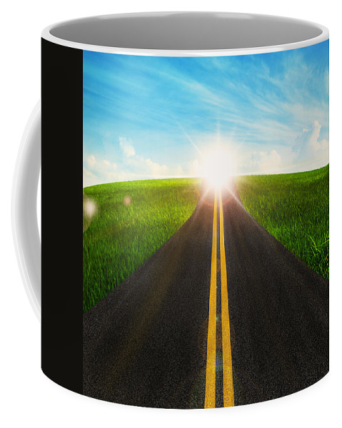 Abstract Coffee Mug featuring the photograph Long Road In Beautiful Nature by Setsiri Silapasuwanchai