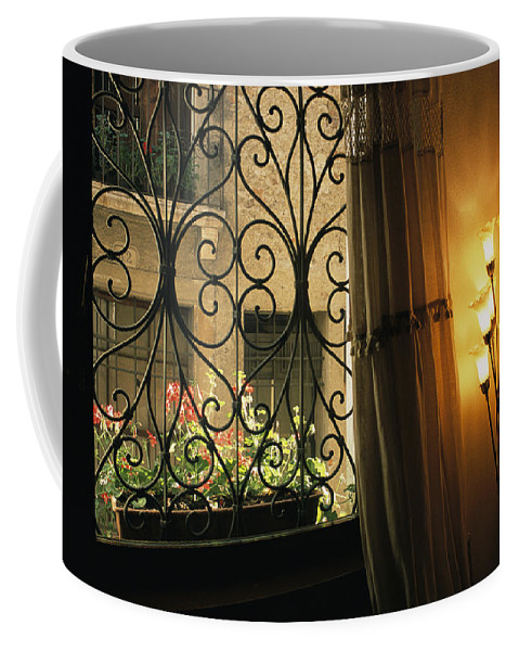 Europe Coffee Mug featuring the photograph Looking Through Iron Filagree Window by Todd Gipstein