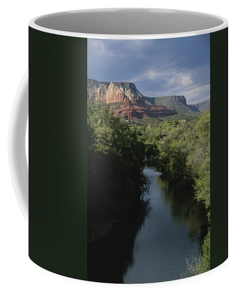 Outdoors Coffee Mug featuring the photograph Looking Up Oak Creek At The Red Rocks by Todd Gipstein